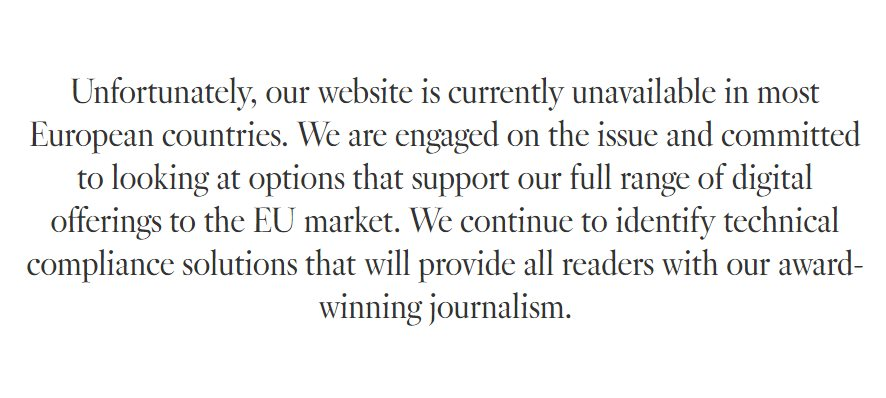 What the LA Times says when you click on its site from certain European countries