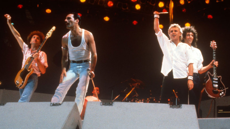 Queen at Live Aid in 1985
