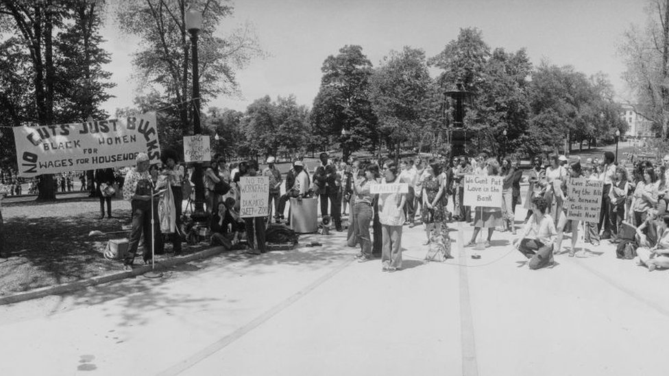 Wages for Housework campaign demonstration in Boston, 1977