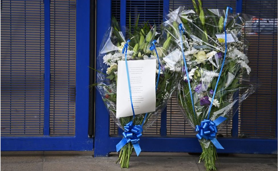 flowers left at police station