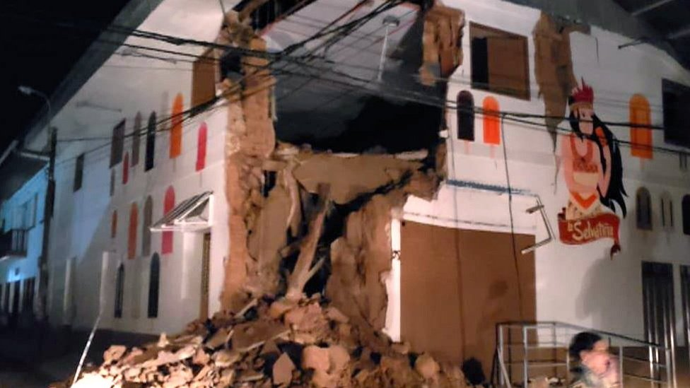 Un edificio destruido en la localidad de Yurimaguas.