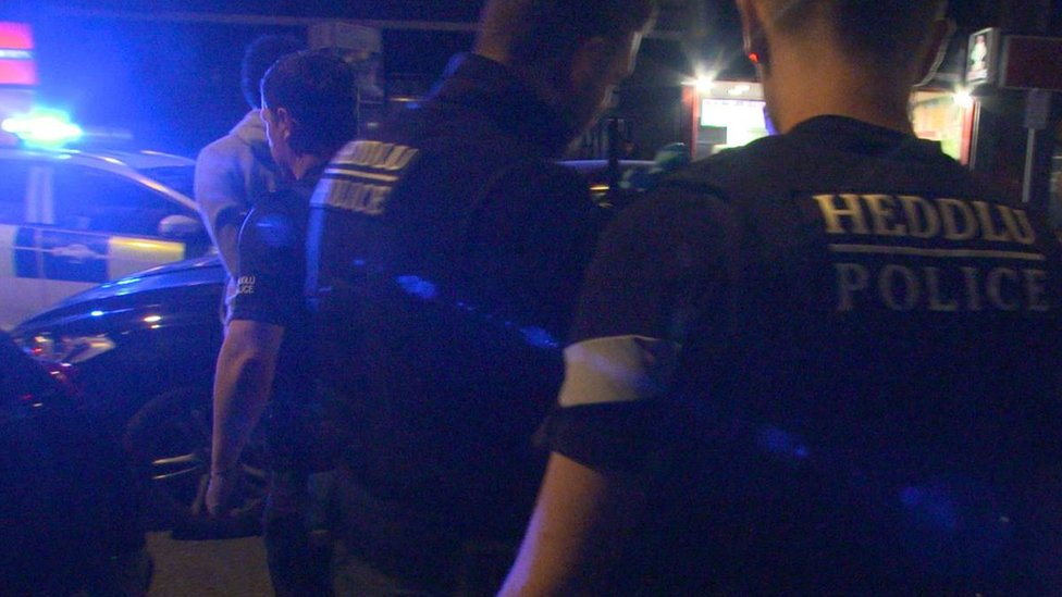 Police on the streets of Cardiff at night as part of Operation Sceptre