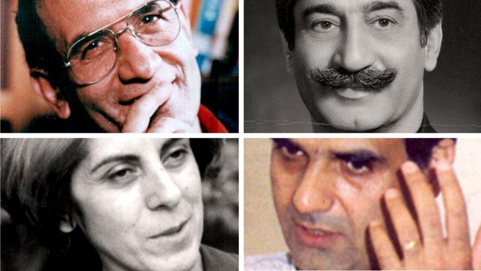 U smeru kazaljke na satu: Muhamed Mohtari, Dariuš Faruhar, Muhamed Džafar, Parvane Faruha