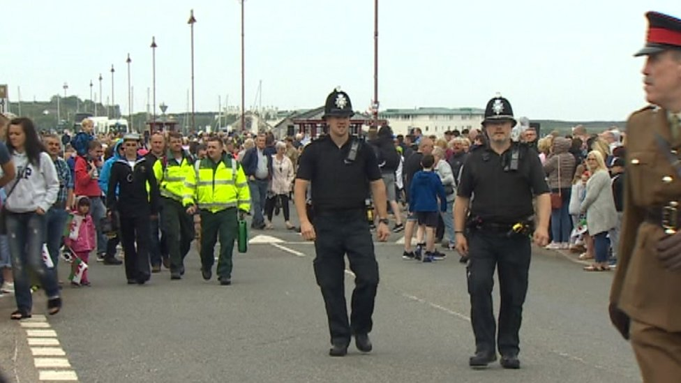 Anglesey submarine navy parade for Armed Forces Day