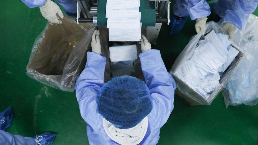 中國一家口罩工廠