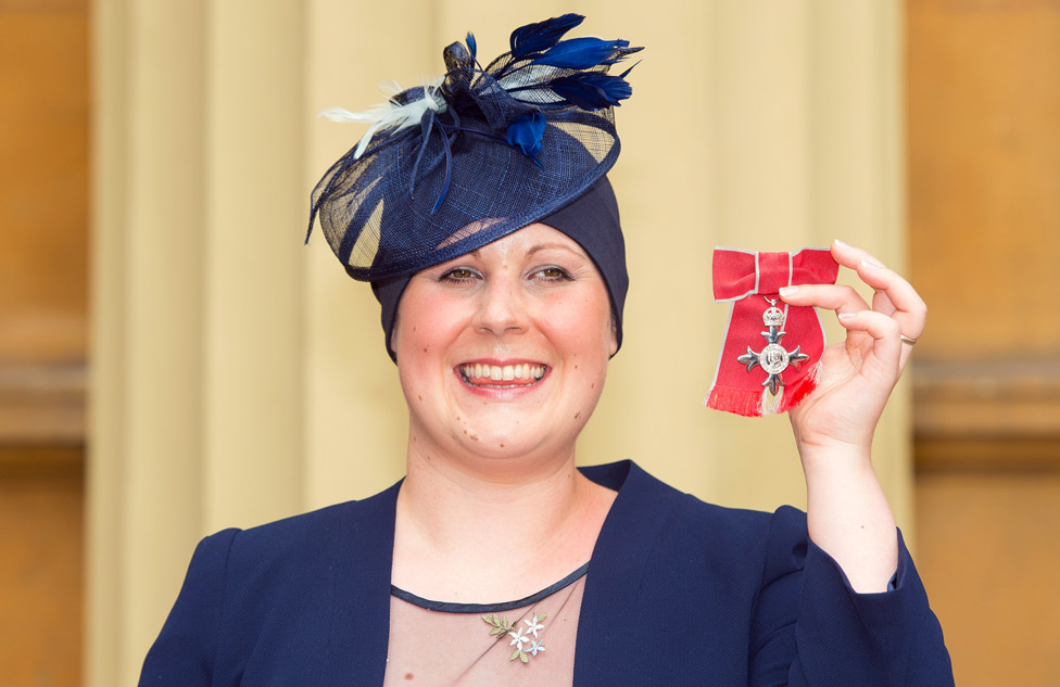 Kate Granger holds her MBE which was awarded to her by the Prince of Wales at an investiture ceremony at Buckingham Palace on June 12 , 2015