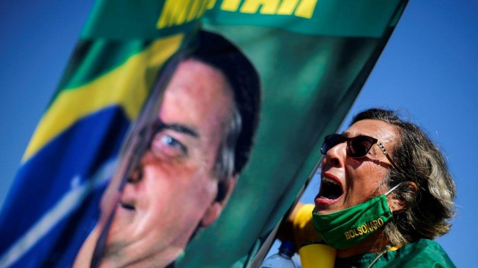 Bolsonaro yanlısı protestolardan bir fotoğraf