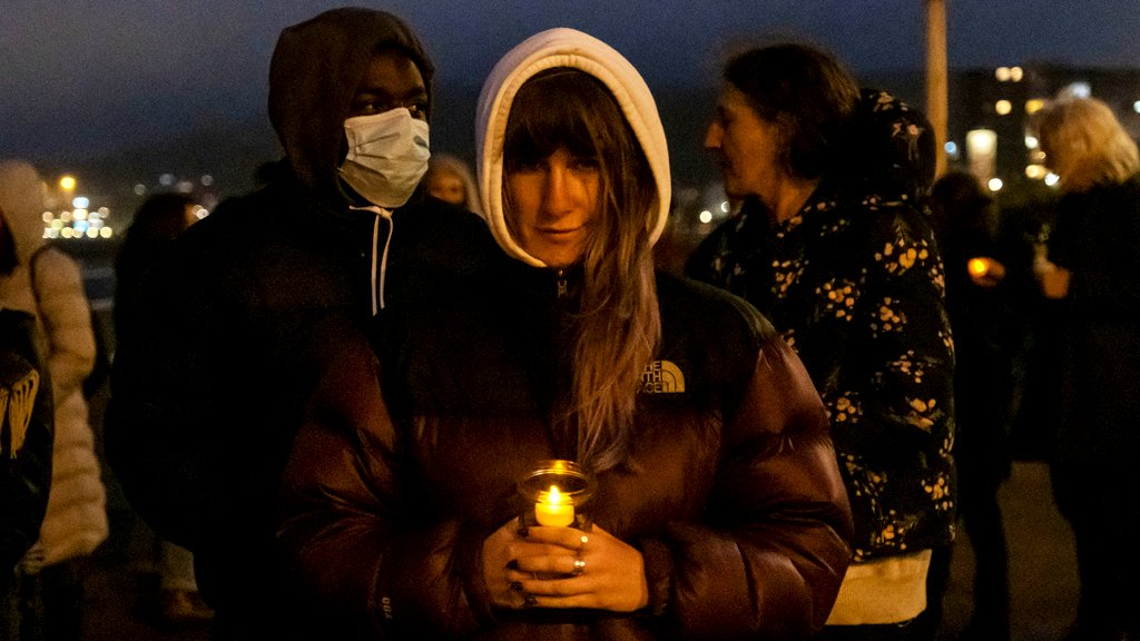 Locals gathered on Dover seafront for a candlelit vigil to mark the tragic death of the Kurdish-Iranian family who lost their lives attempting to seek asylum, on the 30th of October 2020 in Dover, United Kingdom.
