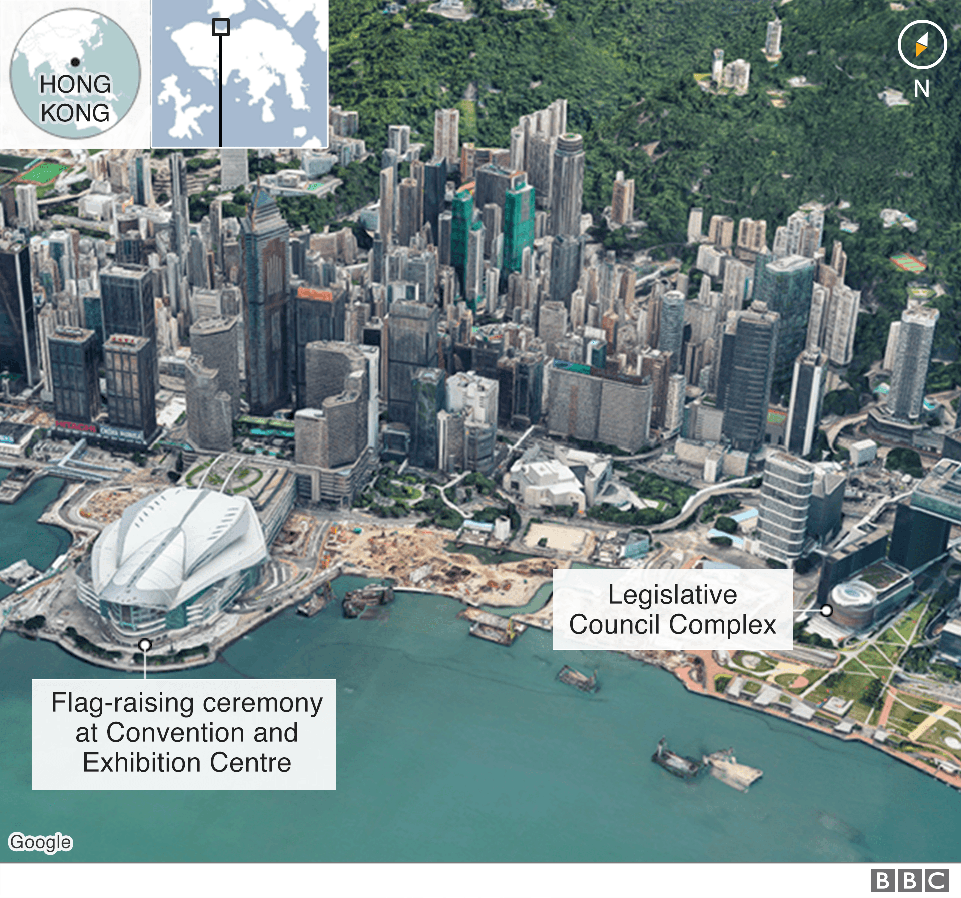 Map showing where ceremony was compared to LegCo building