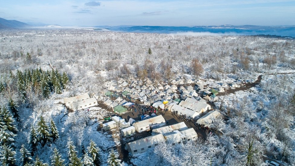 Aerial view of the migrant camp in Vucjak near Bihac, Bosnia and Herzegovina, on 6 December 2019