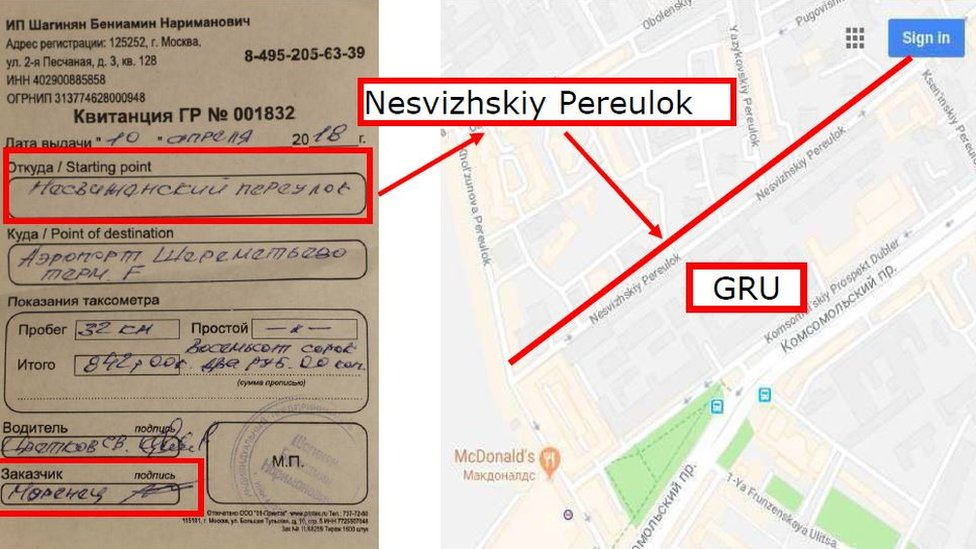 Receipt for a taxi journey from a street near the GRU to the airport