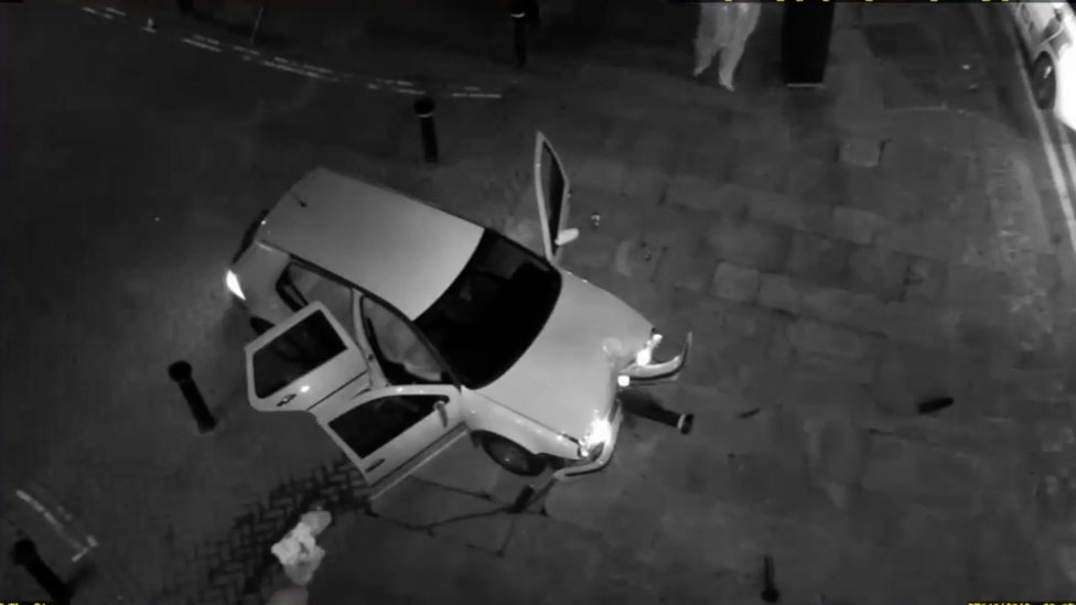 A car that crashed after a teenager tried to escape a drugs gang
