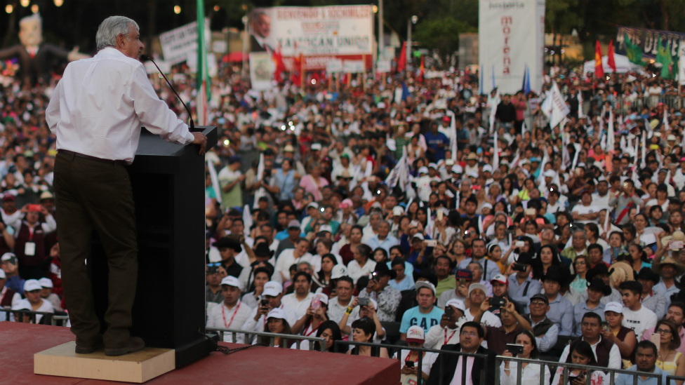López Obrador en un discurso.