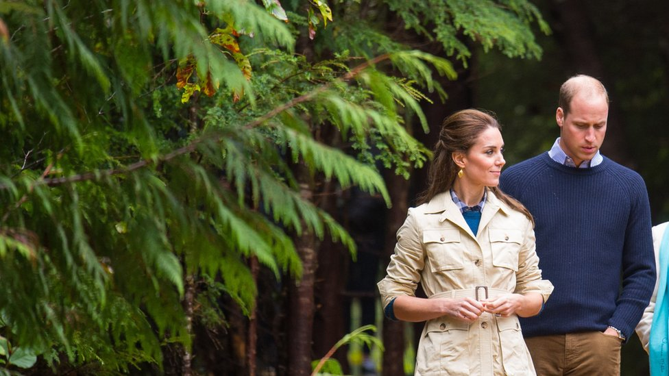 The Duchess of Cambridge and Prince William in the Great Bear Rainforest in Bella Bella, Canada. 26 September 2016.