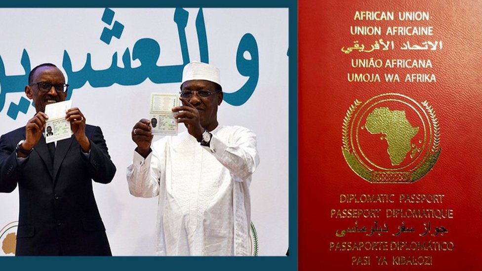 A composite image of Rwanda's President Paul Kagame and former African Union Chairman Idriss Déby, and a close shot of an AU passport