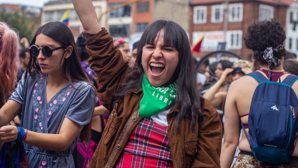 Protesta feminista en Bogotá