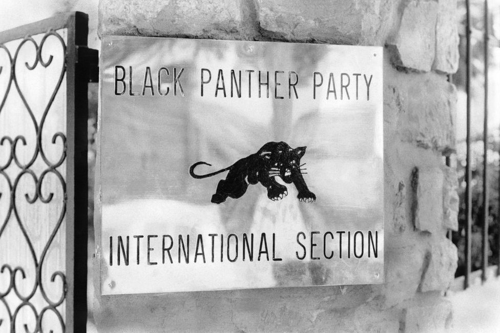 The sign on the gate of the international section of the Black Panther Party, in Algiers