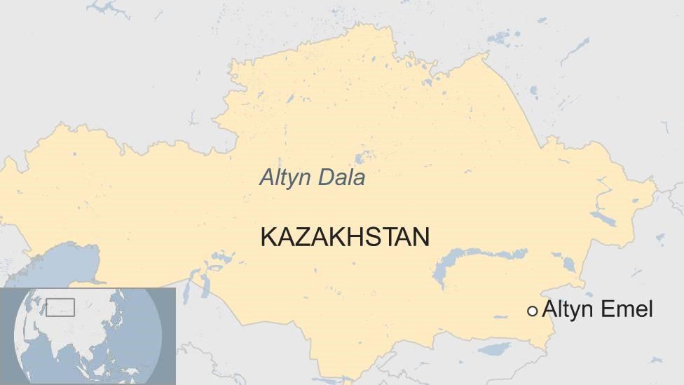 Map of Kazakhstan showing Altyn Dala and Altyn Emel