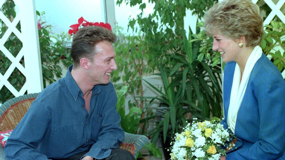 Princess Diana with an AIDS patient at a London hospital in 1991.