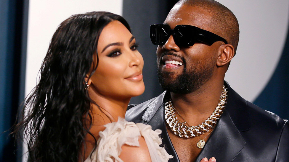 Kim Kardashian West and Kanye West in February 2020