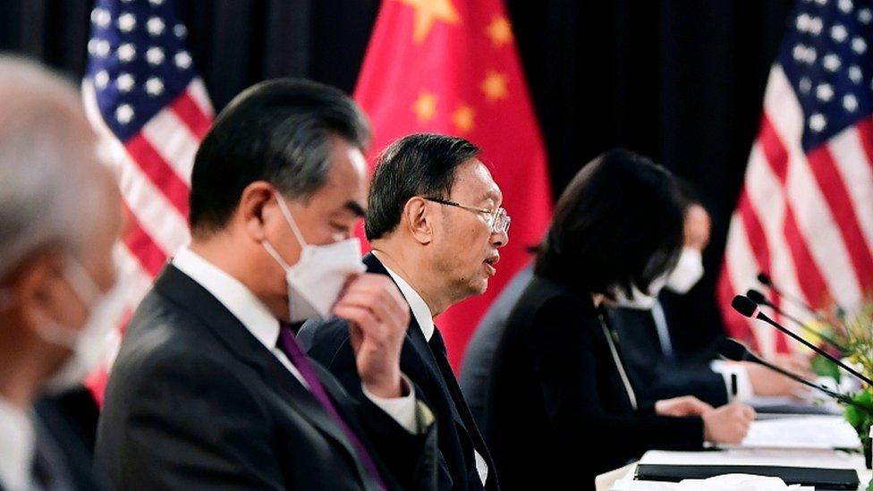 Yang Jiechi (c), and Wang Yi at the Alaska talks. 18 March 2021