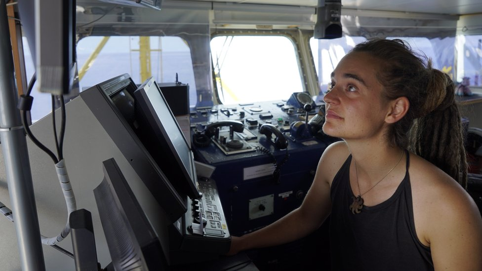 Sea-Watch 3 captain Carola Rackete on board the vessel at sea in the Mediterranean, 20 June 2019