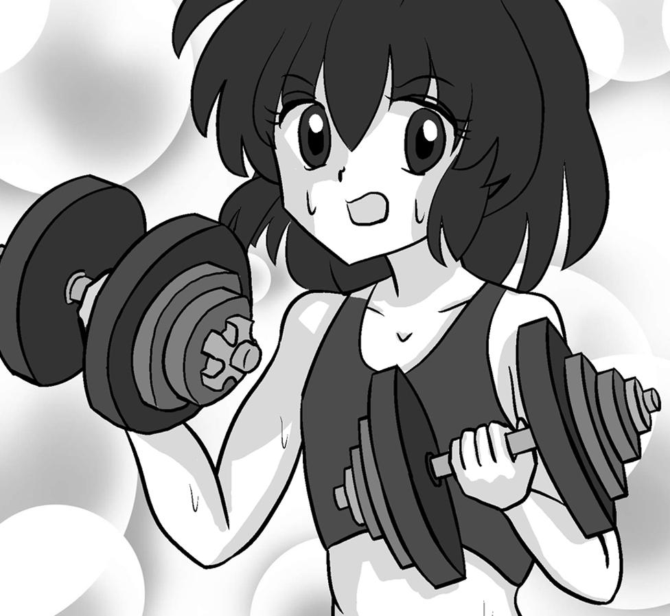 Manga image of person lifting weights