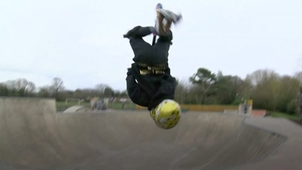 UK scooter champion: Tyler Hainey, aged seven can do backflips