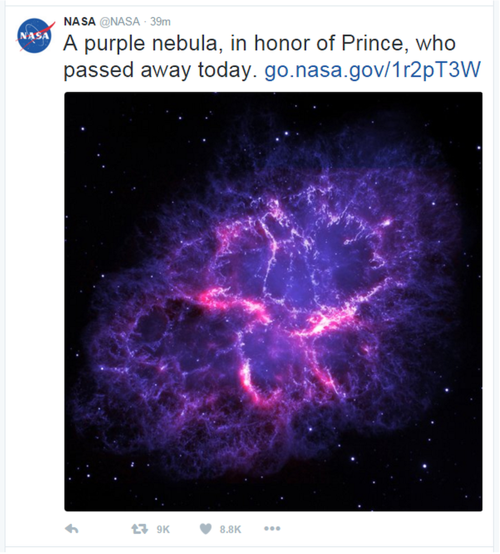 "A tweet from Nasa reads: ""A purple nebula, in honor of Prince, who passed away today."""