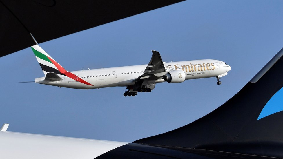 Emirates flight takes off