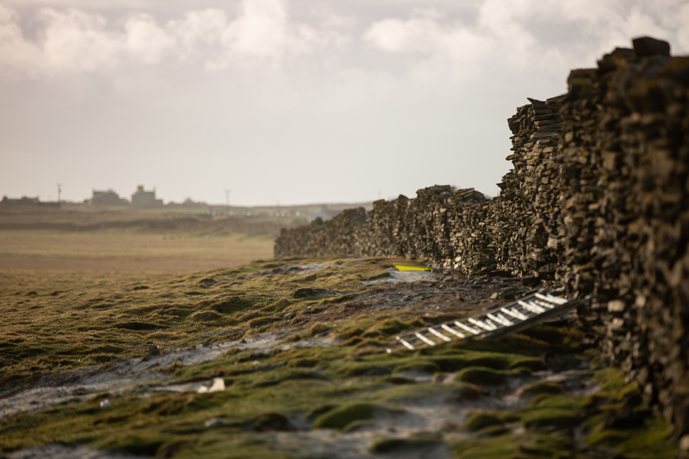 A damaged part of the wall on North Ronaldsay