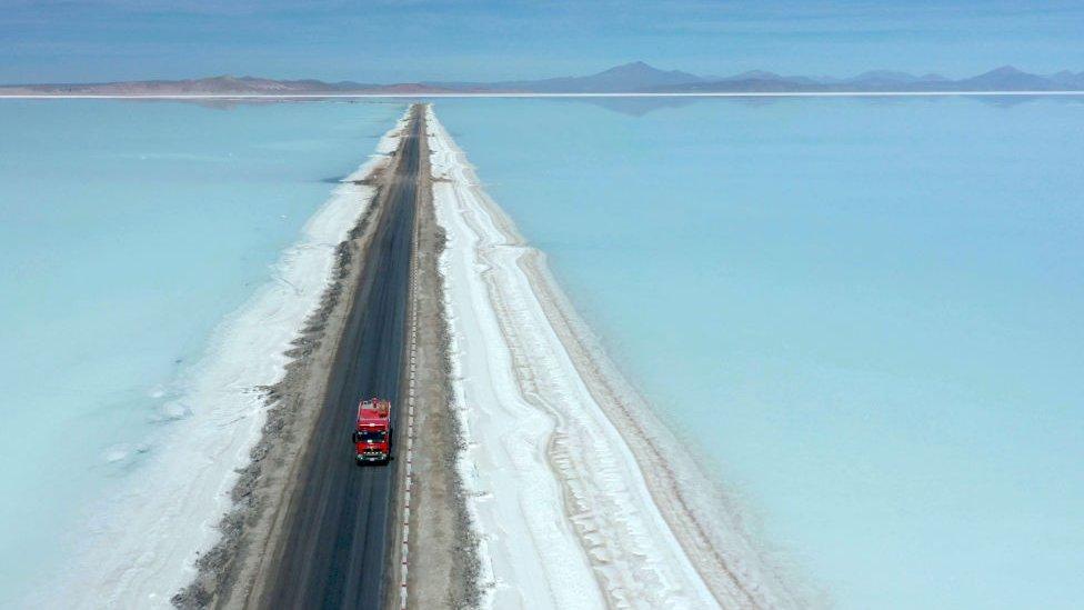 The Salar de Uyuni salt flat in Bolivia