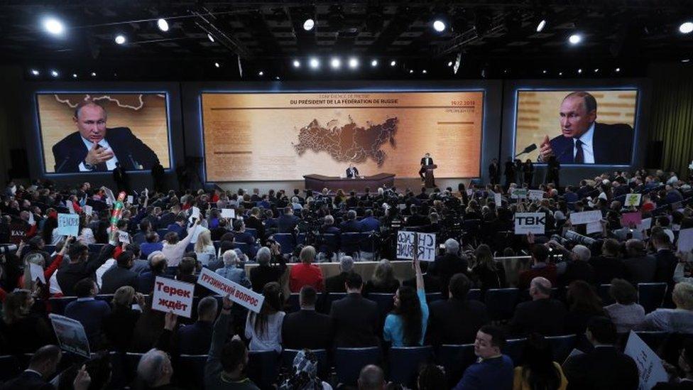 Un auditorio de periodistas con Vladimir Putin en Moscú