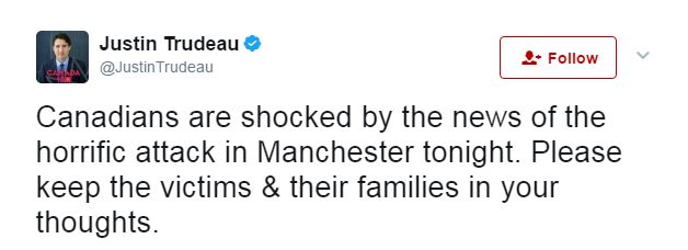 """Canada's Prime Minister Justin Trudeau tweeted his condolences: """"We are shocked by the news"""""""