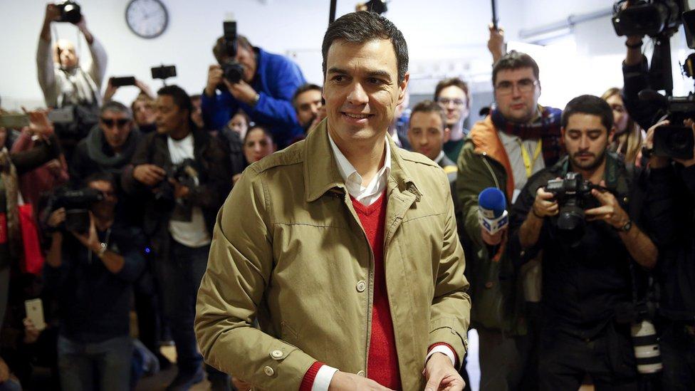 PSOE leader Pedro Sanchez votes in Pozuelo de Alarcon, near Madrid. 20 Dec 2015