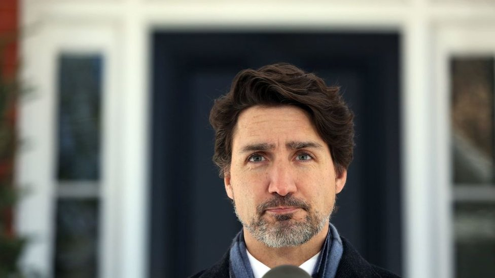 Canadian Prime Minister Justin Trudeau holds an outdoor news conference 20 April, 2020 in Ottawa, Canada