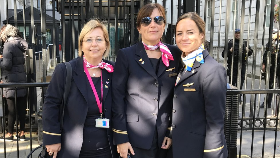 Abi Anderson with colleagues Shelley Matthews and Donna Kelly outside Downing Street.