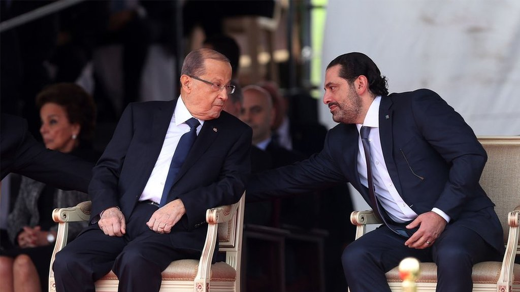 رئيس الجمهورية اللبنانية ميشال عون ورئيس الوزراء المكلف تشكيل الحكومة سعد الحريري