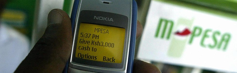 A mobile phone showing an M-Pesa transaction in Kenya