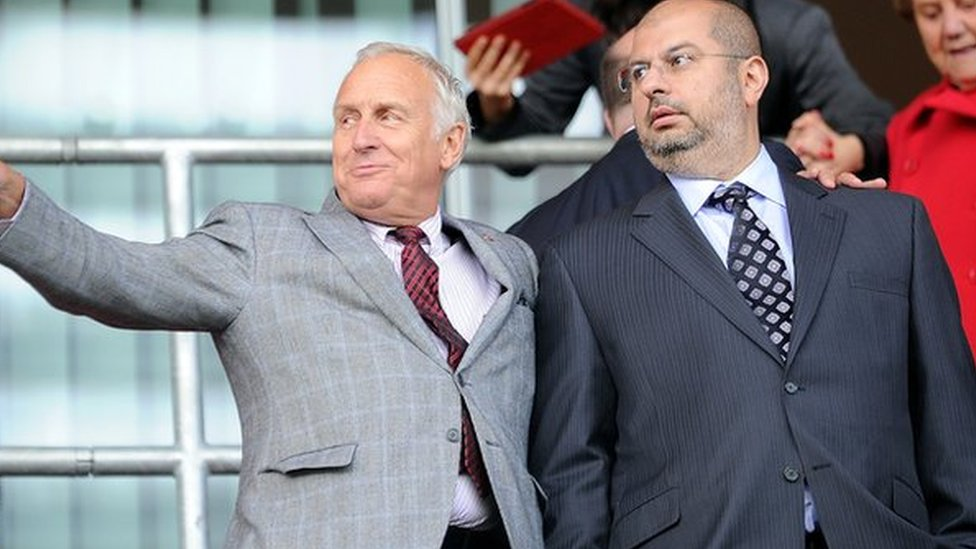 Prince Abdullah Bin Mosaad Abdulaziz Al Saud and co-owner Kevin McCabe watch Sheffield United play Rotherham in September 2013