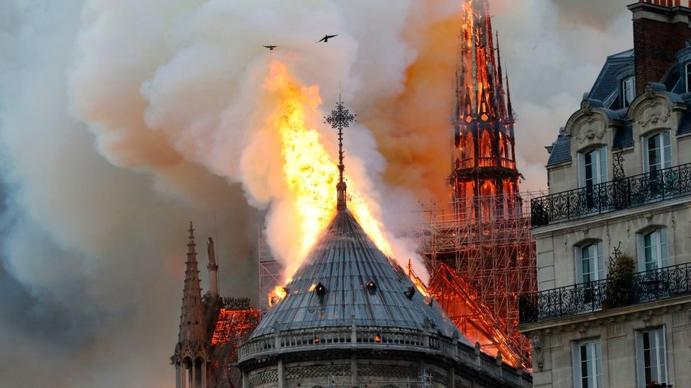 Notre Dame on fire on 15 April, 2019