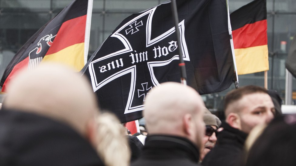 Right-wing activists gather to march in the city centre and protest against German Chancellor Angela Merkel on March 12, 2016 in Berlin, Germany.