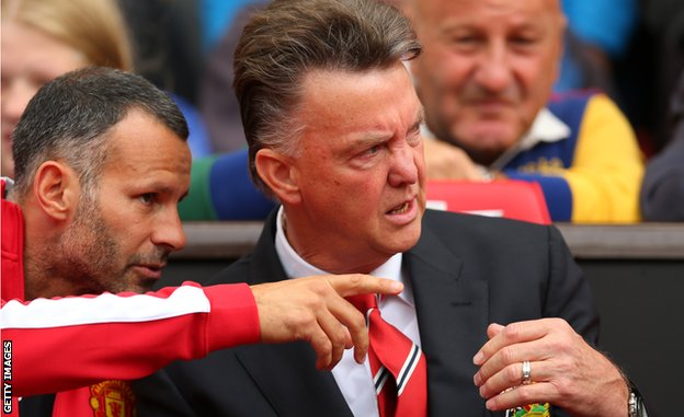 Giggs and Van Gaal pictured on the Manchester United bench in August 2014