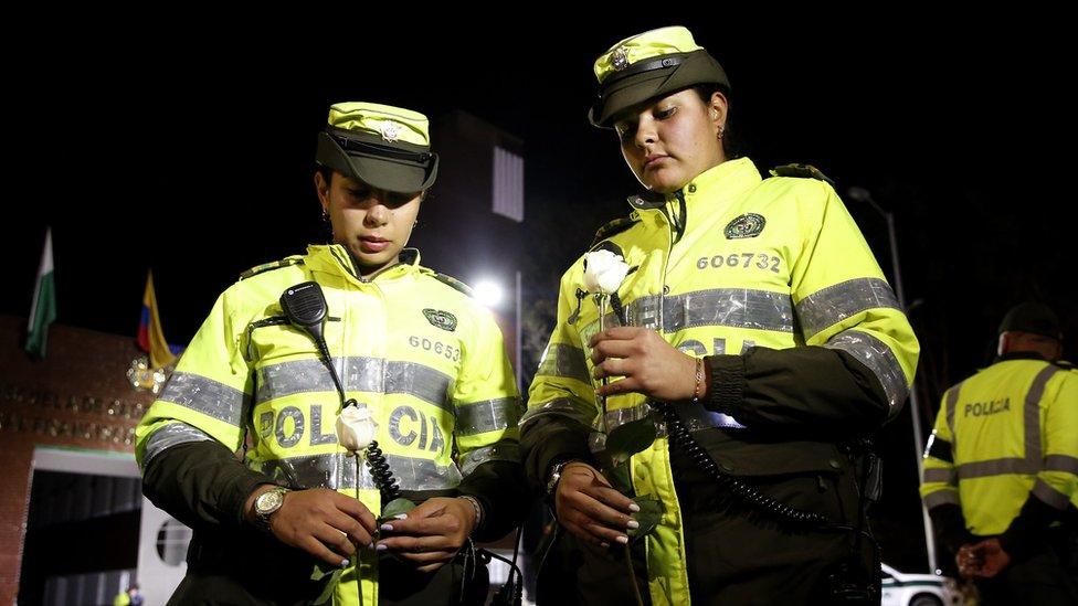 Agentes de policía en Bogotá, Colombia
