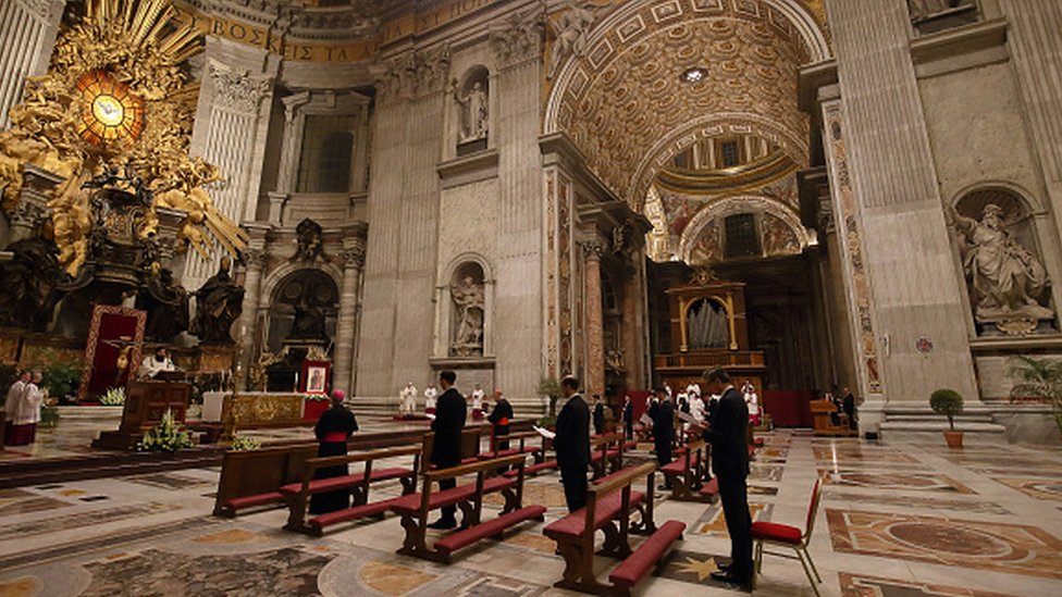 Pope Francis attends the Easter vigil Mass