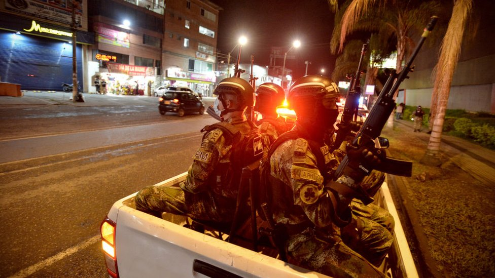 Soldiers patrol the Pan-American fields sector a day after protests against the government of Colombian President Iván Duque on May 29, 2021 in Cali