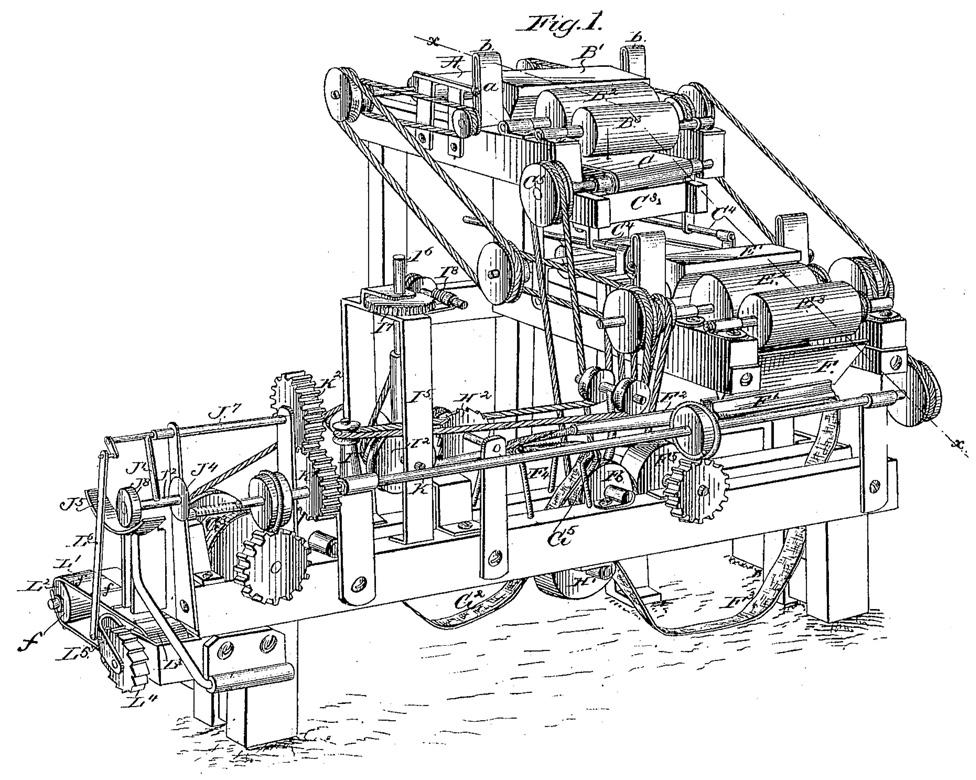Diseño original de James Bonsack de su máquina para enrollar cigarrillos, como aparece en la patente US 238,640.