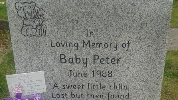 The headstone for Baby Peter