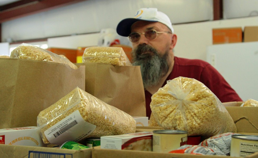 Bags at the food pantry, Jamestown