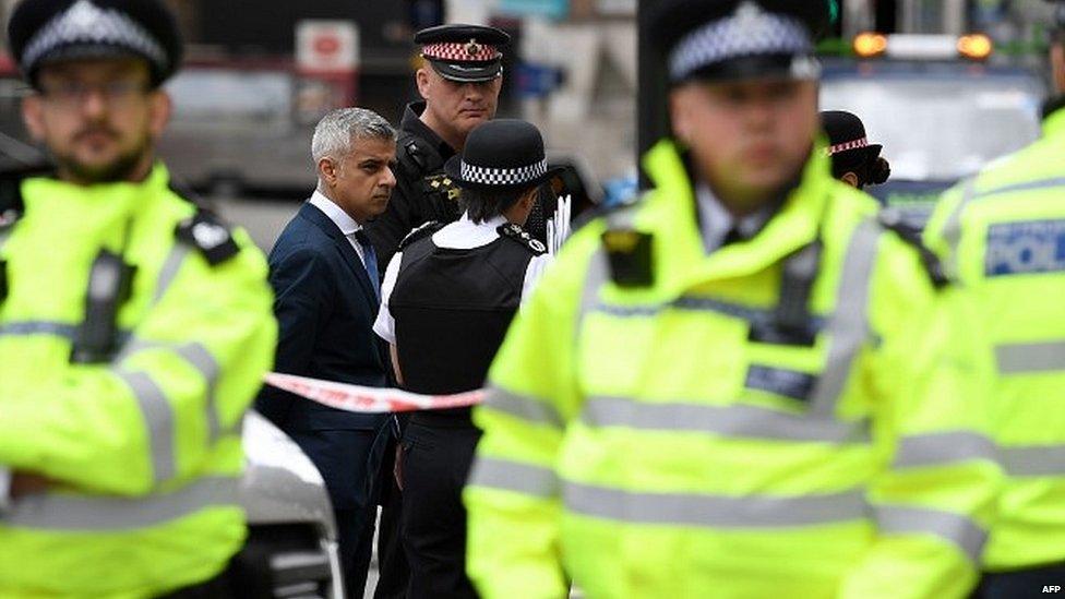 Sadiq Khan with Met Police officers